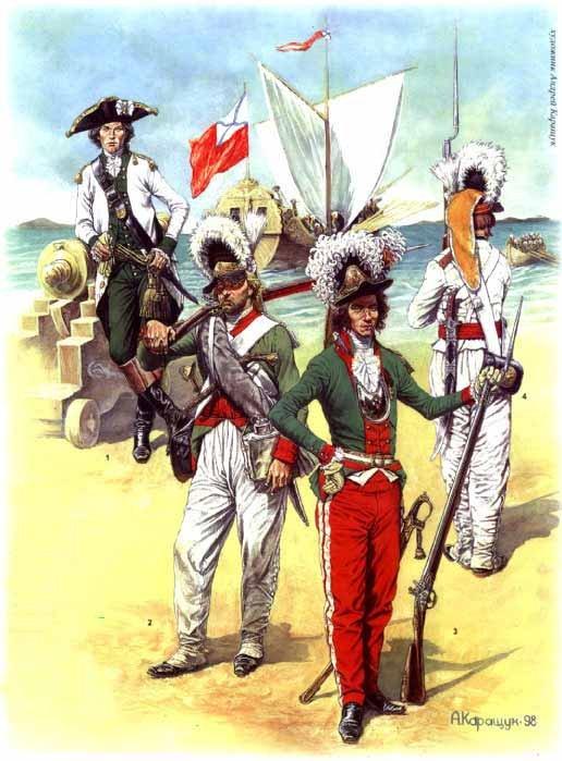 Форма пехоты русской армии 1786 1796 гг